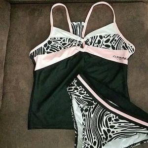 Zeroxposur Two Piece Blk/White/Pink Swim Suit